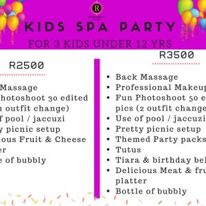 kids spa party for 3 kids