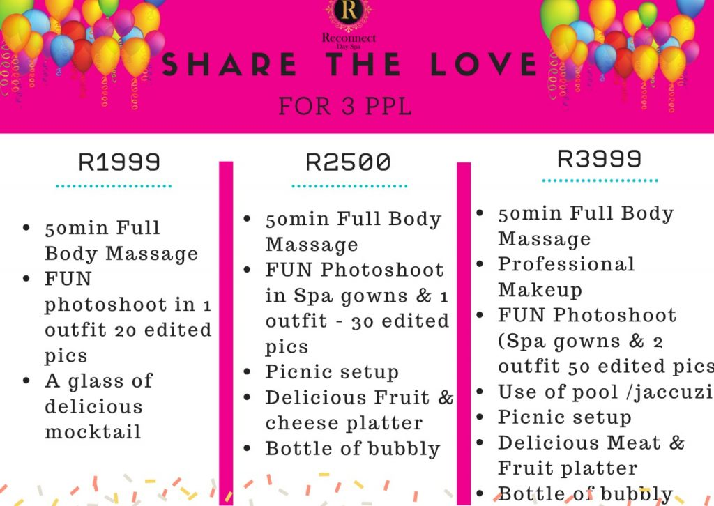 spa package for 3 ppl